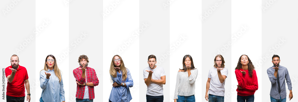 Fototapety, obrazy: Collage of different ethnics young people over white stripes isolated background looking at the camera blowing a kiss with hand on air being lovely and sexy. Love expression.