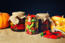 Canned Hot Pepper . Home-made . Spicy Vegetables