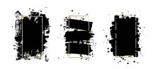 Vector Artistic Ink Brush Strokes. Grunge Paint Texture. Abstarct Stamp Background. Frame For Text.