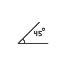 45 Degrees Angle Outline Icon....