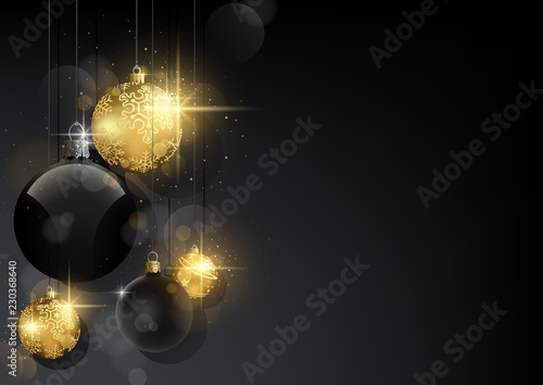 Dark Christmas Background With Black And Golden Baubles