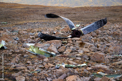 propeller and fuselage after an aircraft crash Canvas