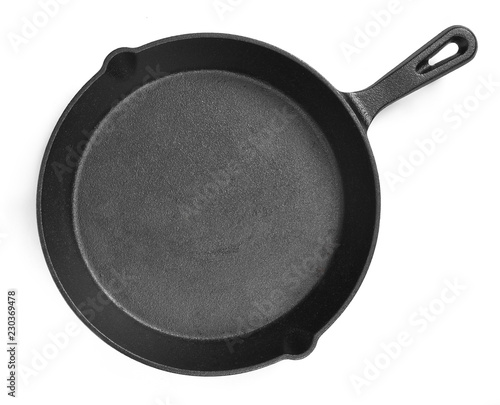 Cast iron pan with empty space, isolated on white background. Cut out object with top view or high angle view and copy space.