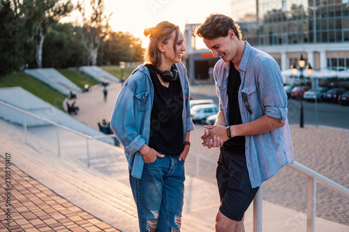 Fotografie, Obraz  Lovely young hipster couple dating during summer sunset