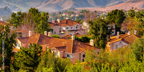 Valokuvatapetti Hills and homes amid trees in San Clemente CA