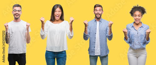 Fotografiet  Collage of group people, women and men over colorful yellow isolated background celebrating surprised and amazed for success with arms raised and open eyes