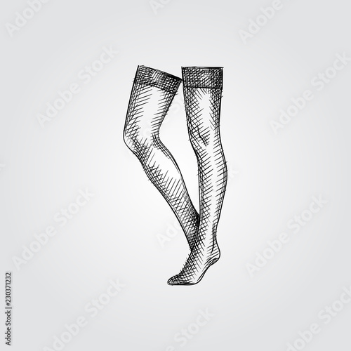 Hand Drawn Women's  Stockings Sketch Symbol isolated on white background Canvas Print