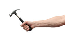 Male Hand Is Holding A Hammer Isolated On The White Background.