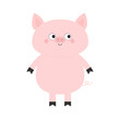 Pig. Hog swine sow animal. Cute cartoon funny baby character. Chinise symbol of 2019 new year. Zodiac sign. Flat design. White background. Isolated.