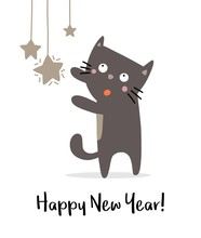 Happy Cute Cat With New Year S...
