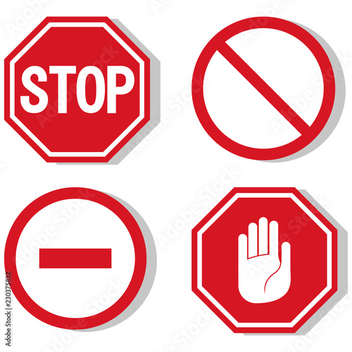 vector stop icon, prohibited passage, stop sign icon, no