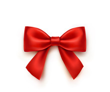 Bow Isolated On White Background. Vector Christmas Red Satin Ribbon With Shadow, Xmas Wrap Element Template.