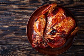 grilled chicken with golden brown crispy skin
