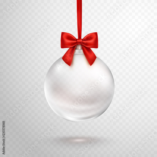 Obraz Christmas ball with red ribbon isolated on transparent background. Vector translucent glass xmas bauble template. - fototapety do salonu