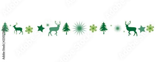 Fototapeta grüner Banner Band mit Weihnachtsmotiven als Hintergrund obraz