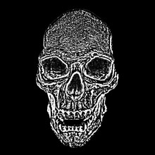 Skull On Black Background.  Black And White Design