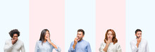 Collage Of Group Of Young People Over Colorful Isolated Background Bored Yawning Tired Covering Mouth With Hand. Restless And Sleepiness.