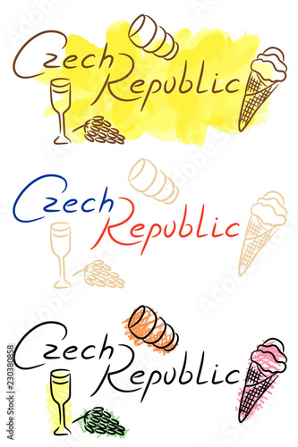 Photo  Czech Republic food sketch with watercolor and color pencil grunge vector illust