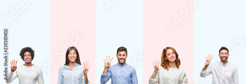 Photographie  Collage of group of young people over colorful isolated background showing and pointing up with fingers number four while smiling confident and happy