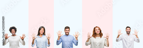 Photo  Collage of group of young people over colorful isolated background showing and pointing up with fingers number ten while smiling confident and happy