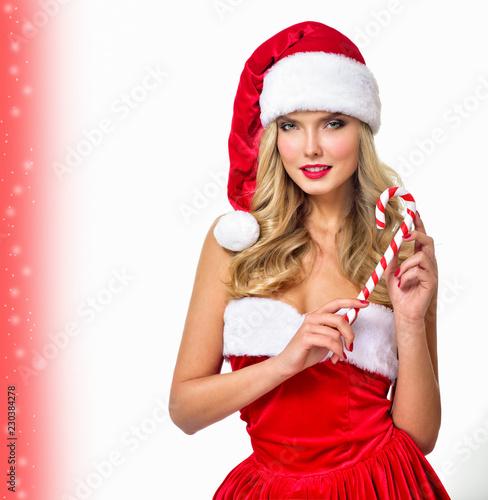 Christmas Model.Beautiful Girl Wearing Santa Claus Clothes Christmas Woman