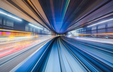 Motion Blur Of Train Moving In...