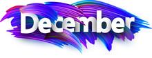 December Banner With Blue Brush Strokes.