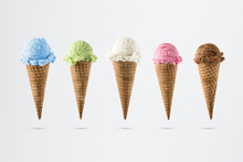 Variety Of Ice Cream Flavor In Cones Blueberry ,strawberry, Lime, Chocolate And Coconut Setup On White Background . Summer And Sweet Menu Concept.