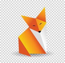 Origami Fox Vector. Orange, Foxy And White Color.