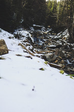 The River In The Carpathian Mountains In The Winter. Dragobrat Snow Drops Winter Fairy Tale. Traveling