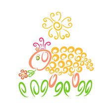 Cute Yellow Sheep In A Crown And With A Flower
