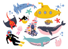 Underwater Creatures And Objects. Colored Vector Set. All Elements Are Isolated