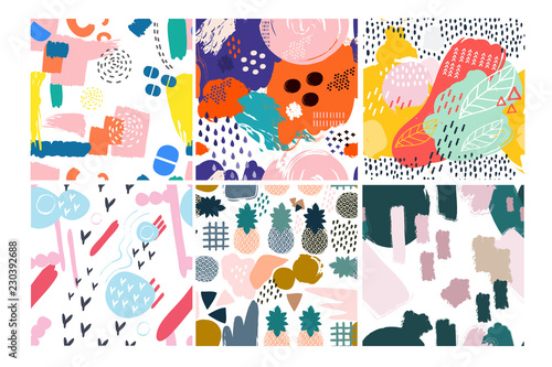 Recess Fitting Pattern Set of six hand drawn vector seamless patterns. Pineapples, leaves, abstract shapes, various colors. Transparent background