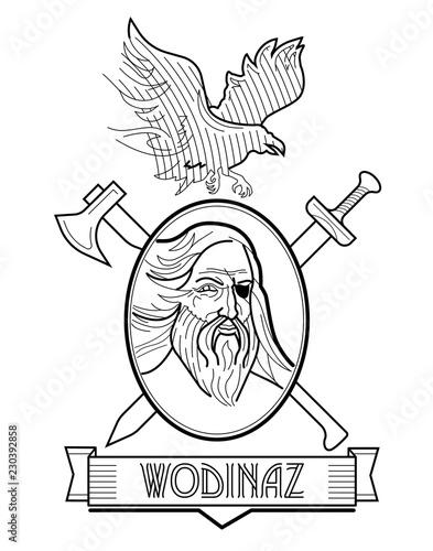Photo  Odin Engraving Head Logo Emblem