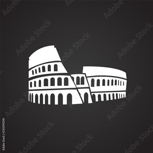 Photographie Colloseum on black background icon