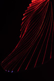 close up view of beautiful tropical leaf with red lighting isolated on black - 230394808