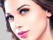 Beautiful eyes lips woman face closeup with healthy skin and beauty maakeup