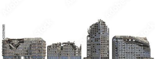 Fotografie, Obraz Ruined Buildings Isolated On White 3D Illustration