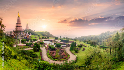 Landmark pagoda in doi Inthanon national park with mist fog during sunset timeat Chiang mai, Thailand.