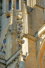 Close-up On Gargoyles And Spires On The Cathedral Of Ely In Cambridgeshire, Norfolk, UK