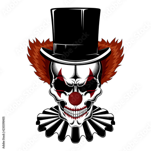 Skull clown in a hat-cylinder and jabot. Fototapet