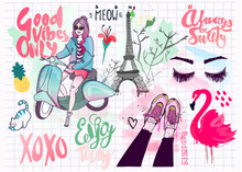 Various Girlish Objects. Hand Drawn Vector Set. All Elements Are Isolated