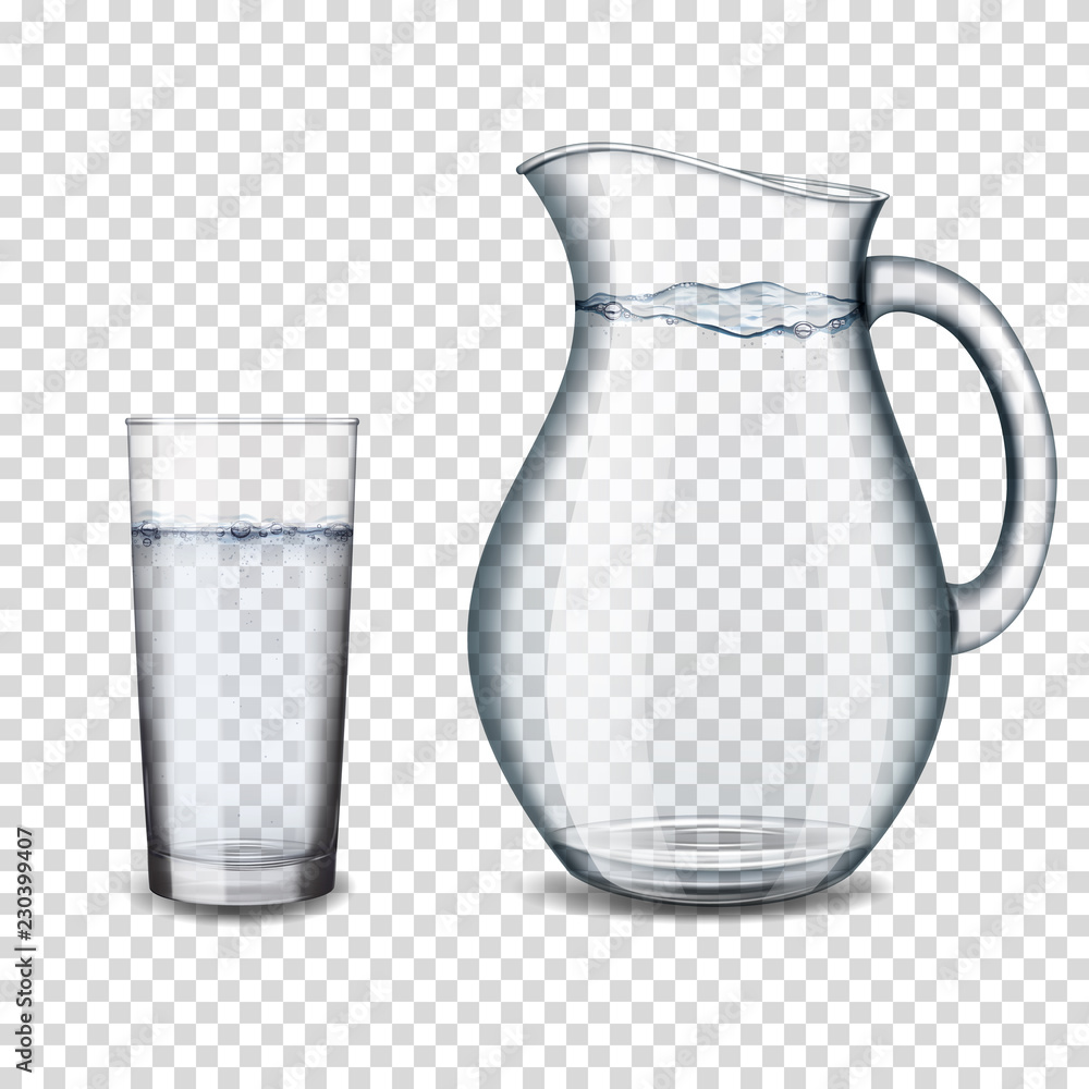 Fototapety, obrazy: realistic transparent glass and jug with water isolated
