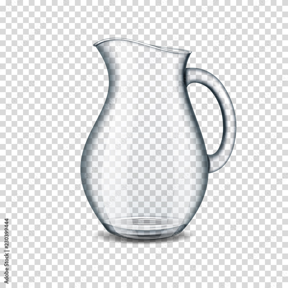 Fototapety, obrazy: realistic transparent glass jug isolated