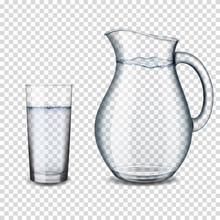 Realistic Transparent Glass And Jug With Water Isolated