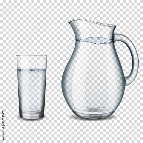 Fotografie, Obraz realistic transparent glass and jug with water isolated