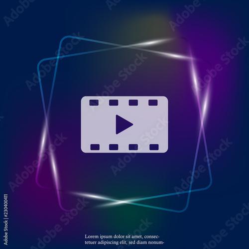 Video play neon light icon  Vector illustration play video