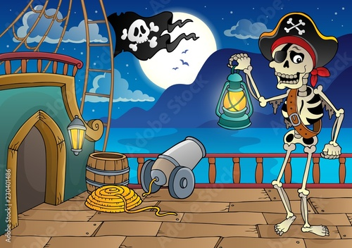 Tuinposter Voor kinderen Pirate ship deck topic 9