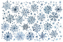 Indigo Blue Watercolor Snowflakes And Stars For Christmas And New Year Decoration