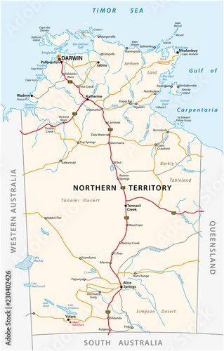 Map Of South Australia And Northern Territory.Vector Road Map Of The Northern Territory Australia Buy This